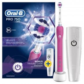 Braun Oral-B PRO750 3D White dantų šepetėlis (PRO 750 D16.513) + Kelioninis dėklas !