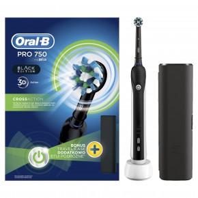 Braun Oral-B PRO750 Cross Action Black Edition dantų šepetėlis (PRO 750 D16.513) + Kelioninis dėklas !